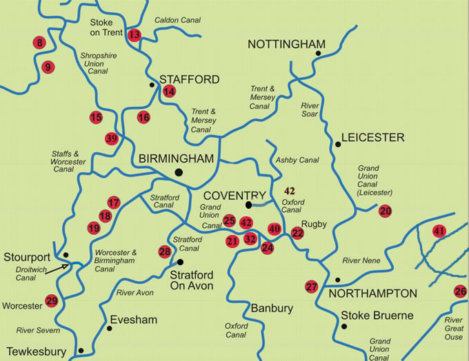 Map of the canals and waterways of central England