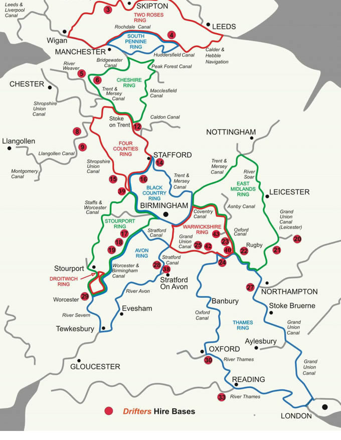 Map Of Uk Rivers And Canals.Ring Routes For Canal Boat Narrowboat And Boating Holidays Uk